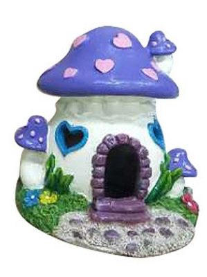 Aqua One Fairy Mushroom House Aquarium Ornament Red & Purple 10x10x11cm 27036